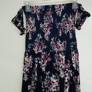 Long floral off the shoulder dress